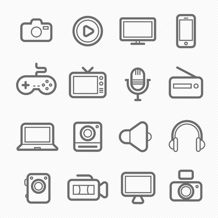 multimedia background: device and multimedia symbol line icon on white background illustration