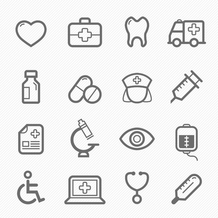 healthy and medical symbol line icon on white background illustration 向量圖像