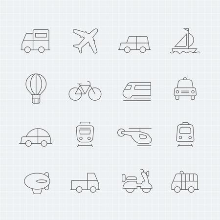 transportation: transports mince ligne icône symbole Illustration