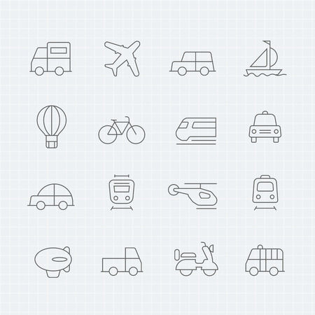 transportation: trasporto sottile linea icona simbolo
