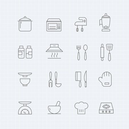 knife and fork: kitchen thin line symbol icon