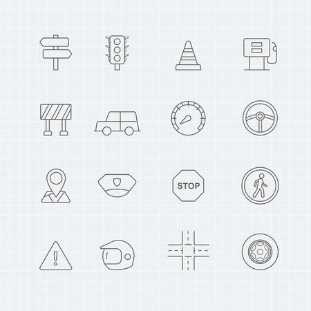 symbol traffic: traffic thin line symbol icon