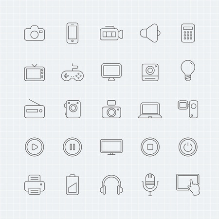communication icon: device and multimedia thin line symbol icon