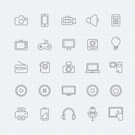 macchina fotografica: dispositivo e multimediali linea sottile icona simbolo Vettoriali