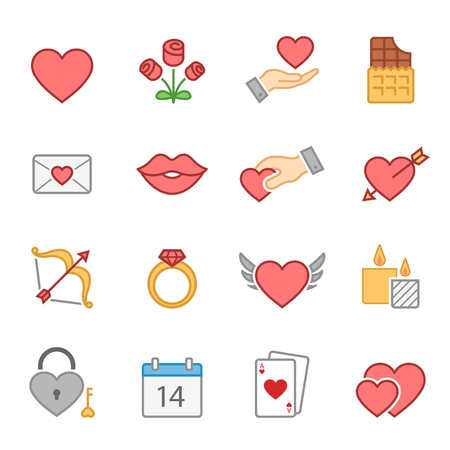 full color: Valentines full color icons