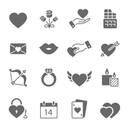 San Valentino icone solide illustrazione vettoriale Vettoriali