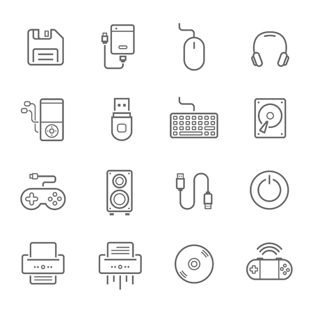 lcd monitor printer: Lines icon set - devices accessory