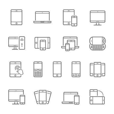 shrink: Lines icon set - responsive devices