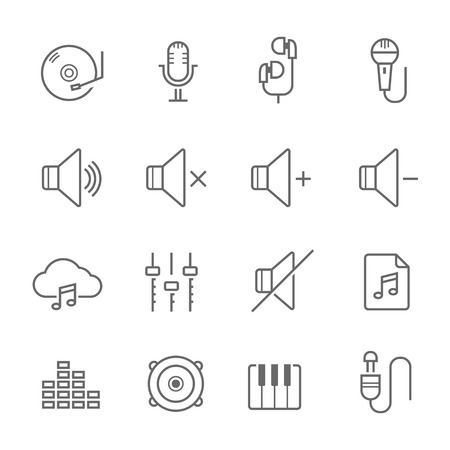 Lines icon set - audio illustration