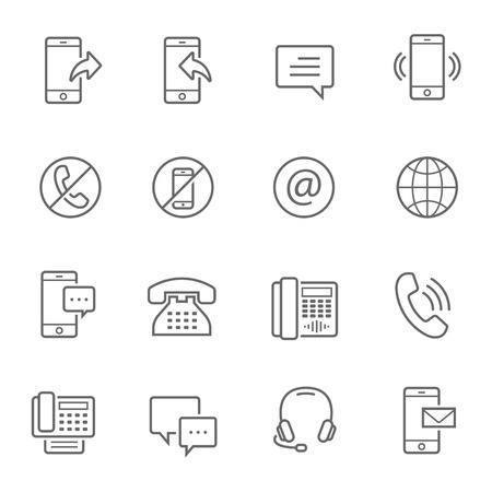contacts group: Lines icon set - telecommunication