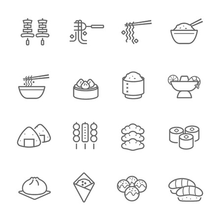 Lines icon set - Eastern food illustration Vectores