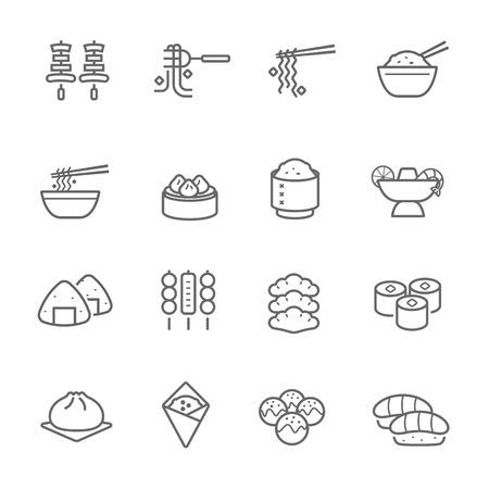 thai noodle: Lines icon set - Eastern food illustration Illustration