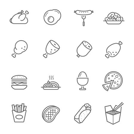 Lines icon set - Western food  イラスト・ベクター素材