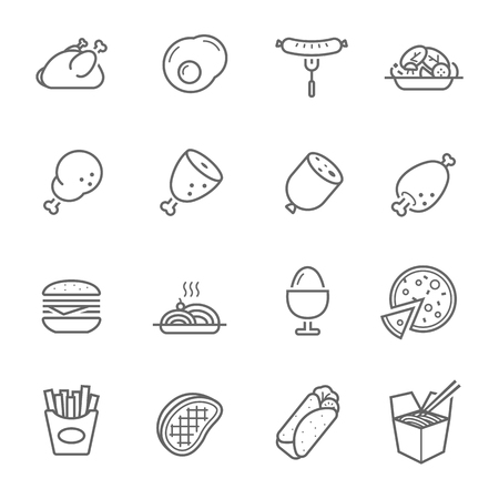 Lines icon set - Western food 向量圖像