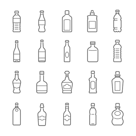 Lines icon set - bottle and beverage