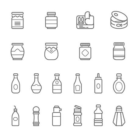 Linee set di icone - illustrazione ketchup Vettoriali
