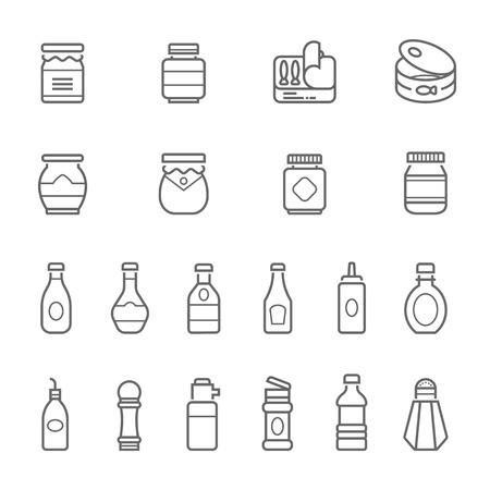 soy sauce: Lines icon set - ketchup illustration