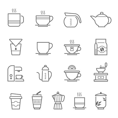 percolator: Lines icon set - coffee and tea