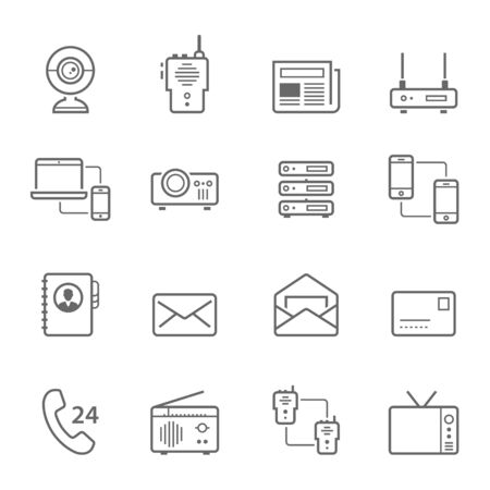 communication devices: Lines icon set - communication devices