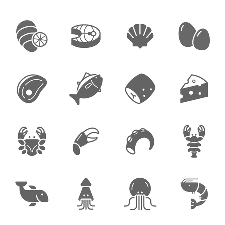 frozen meat: Icon set - raw food material Illustration