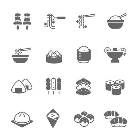chinesisch essen: Icon-Set - Essen