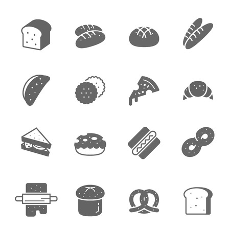 swiss roll: Icon set - bread and bakery
