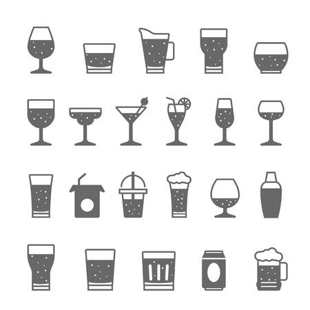 bebida: Ícone ajustado - de vidro e bebidas Ilustração