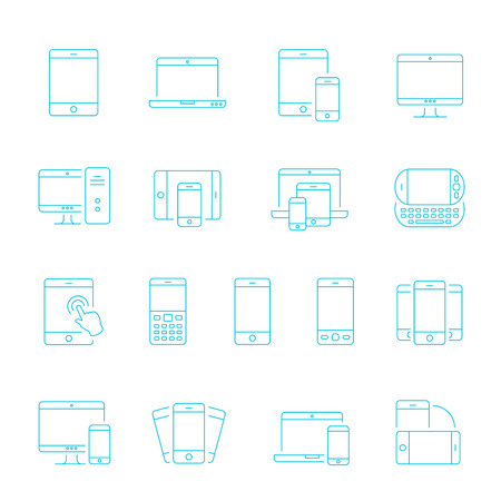 shrink: Thin lines icon set - responsive devices