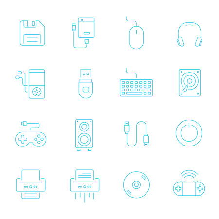 lcd monitor printer: Thin lines icon set - devices accessory