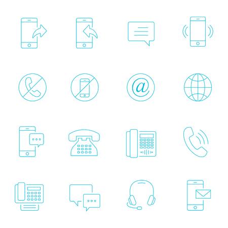 Thin lines icon set - communication
