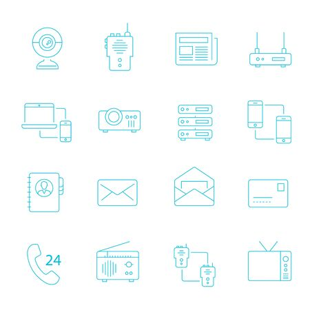 communication devices: Thin lines icon set - communication devices Illustration