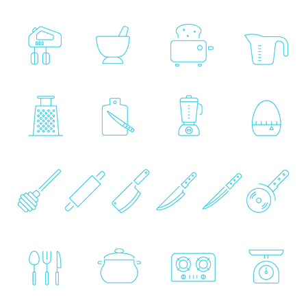juice extractor: Thin lines icon set - kitchenware