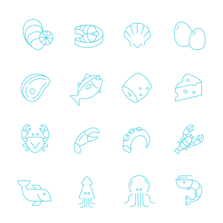 raw material: Thin lines icon set - raw food material