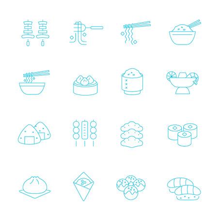 chinesisch essen: Dünne Linien icon set - östliche Nahrung Illustration