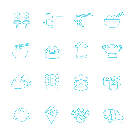 fortune cookie: Thin lines icon set - Eastern food