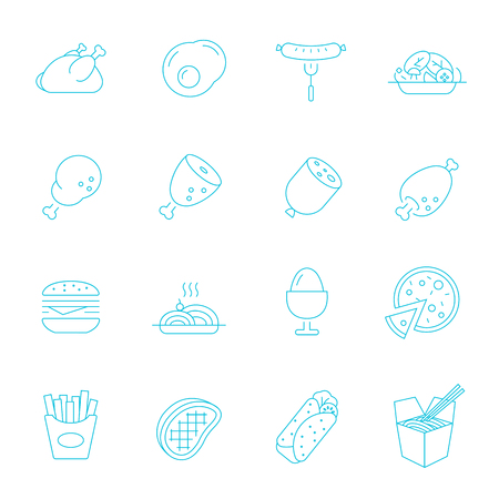 western food: Thin lines icon set - Western food Illustration