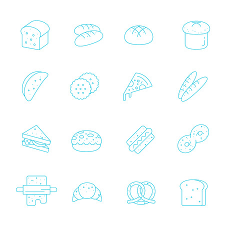 swiss roll: Thin lines icon set - bread and bakery