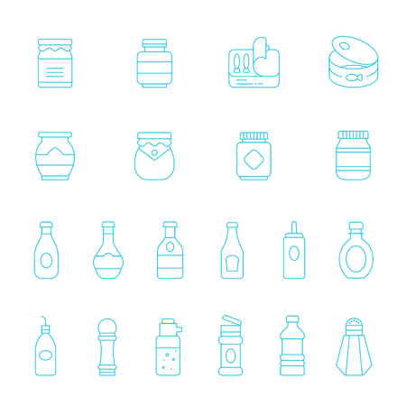soysauce: Thin lines icon set - ketchup