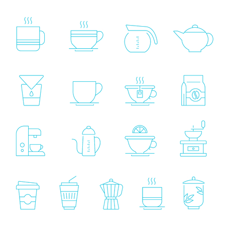 percolator: Thin lines icon set - coffee and tea Illustration