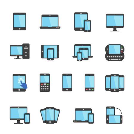 shrink: Color icon set - responsive devices Illustration
