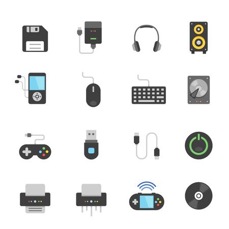 lcd monitor printer: Color icon set - devices accessory