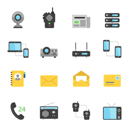 communication devices: Color icon set - communication devices