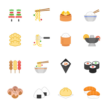 sticky: Color icon set - Eastern food Illustration