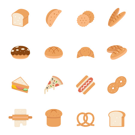 swiss roll: Color icon set - bread and bakery Illustration