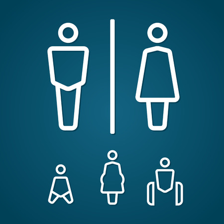 Restroom male female pregnant cripple and baby sign illustration