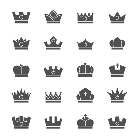 aristocracy: Crown vector solid icons set Illustration
