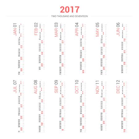 annual events: Calendar 2017 in vertical design Illustration