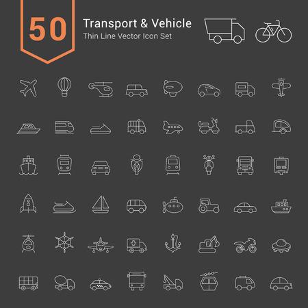 vehicle icon: Transport & Vehicle Icon Set. 50 Thin Line Vector Icons.