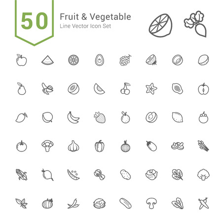Fruit and Vegetable Icon Set. 50 Line Vector Icons. Vectores
