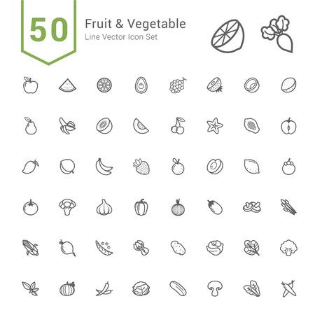 Owoce i Warzywa ikony. Linii 50 wektorowe ikony.